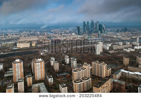 Above view of high buildings in neighborhood at spring cloudy day in Moscow