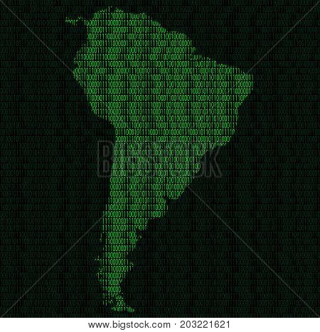 Illustration of silhouette of South America from binary digits on background of binary digits