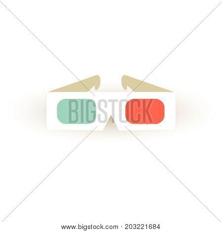 Paper 3D Glasses Icon. Stereo Sinema Glasses.