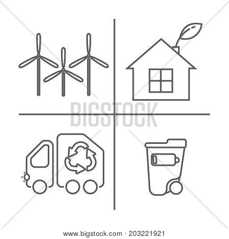 Eco Icons Set. Thin Line Ecological Signs For Infographic, Website Or App. Garbage Truck, Windmills