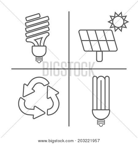 Eco Icons Vector Set. Thin Line Ecological Signs For Infographic, Website Or App. Powersave Lamp, Ec