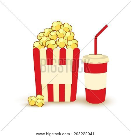 Movie Poster Template. Popcorn, Soda Takeaway. Cinema Design Elements.