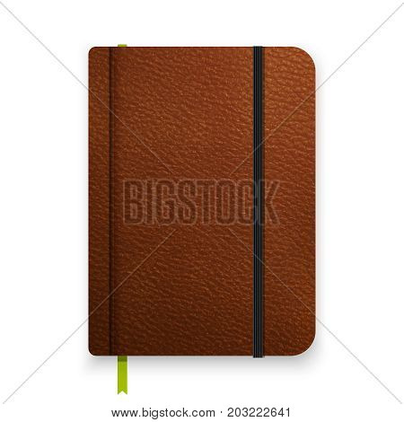 Realistic Leather Brown Notebook With Black Elastic Band. Top View Diary Template. Notepad Mockup. C