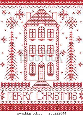 Merry Christmas Winter Nordic style and inspired by Scandinavian Christmas pattern  in cross stitch including tall gingerbread house, reindeer, snowflake, decorative seamless ornate patterns in red