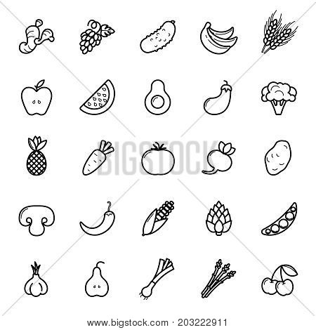 Fruit And Vegetables Icon Set. Vegan Natural Bio Pictograms. Artichoke, Asparagus, Wheat, Bananas, G