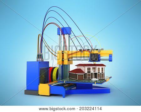 3D Printer Printing House On Blue Background