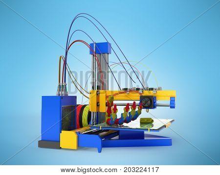 3D Printer Print Prosthesis 3D Render On Blue Background