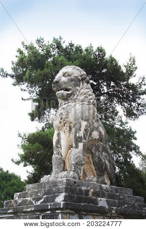 A fourth century BC funerary monument set up in honor of the admiral Laomedon from Lesbos, a devoted companion of Alexander the Great. This monument dates back to the 4th century BC.   The Lion of Amphipolis is a 4th-century BC tomb sculpture in Amphipoli