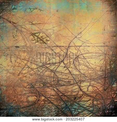 Old style distressed vintage background or texture. With different color patterns