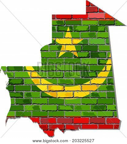 Mauritania map on a brick wall - Illustration,   Mauritania map with flag inside