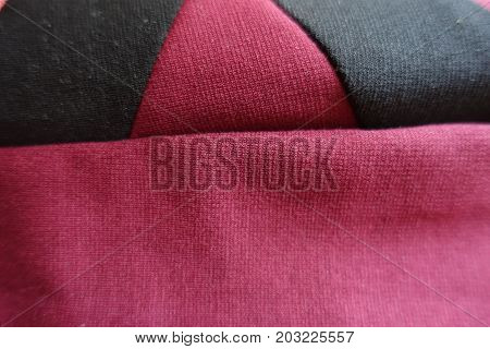Black And Red Stockinette Fabric Stitched Together