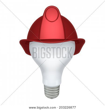 Light Bulb With A Fireman Helmet 3D Illustration
