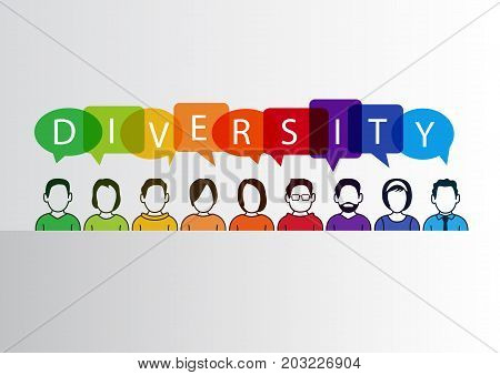 Colorful diversity background with group of people and text