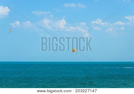 Albena, Bulgaria - June 15, 2017: Colored Parasail Wing Pulled By A Boat In The Sea Water, Parasaili