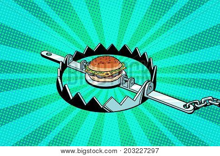 Iron trap with the Burger. concept of hunger and diet. Pop art retro vector illustration