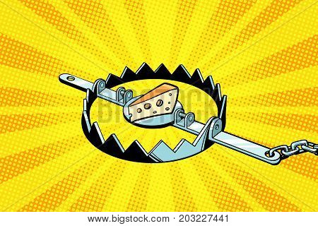 Iron trap with cheese, mousetrap. Pop art retro vector illustration