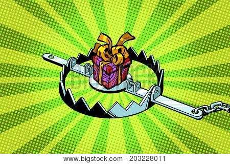 Gift box in a metal trap. Pop art retro vector illustration