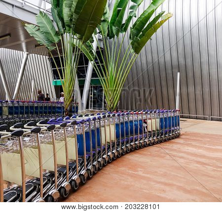 Trolleys At Ssr Intl Airport In Mahebourg, Mauritius