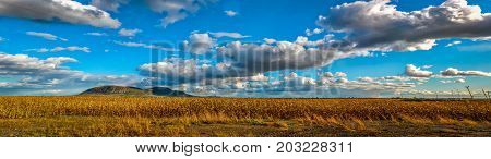 Panoramic small mountain and clouds in Beloeil Quebec Canada