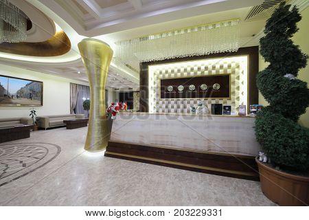 YEREVAN, ARMENIA - JAN 6, 2017: Stylish reception with clocks in Hotel National, it is modern hotel, member of Luxury Group