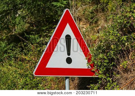 The red triangle with exclamation mark danger sign next to the road.