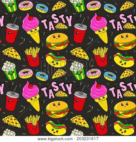 Fashion patch badges with drink fast food donuts ice cream burger and other. Very large set of girlish and boyish stickers patches in cartoon isolated.Trendy print for backpacks things clothes. Tasty pattern. Food pattern. Burger pattern. Ice cream patter
