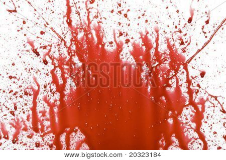 Closeup of splattered blood with drips isolated on a white background