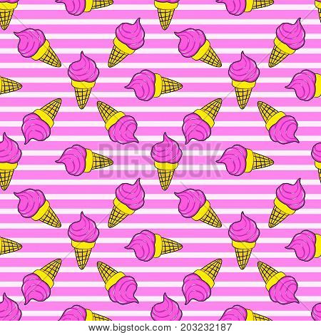 Cute Kids Pattern For Girls And Boys. Colorful Ice Cream On The Abstract Grunge Background Create A
