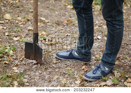 A close-up of male legs and a metal shovel dug into the ground. A young naturalist planting a tree on a park ground background. Nature, environment and ecology concept. Copy space.