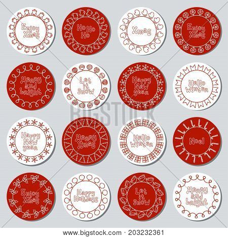 Christmas New Year gift round stickers. Labels and badges xmas set. Hand drawn decorative element. Holiday christmas stickers. Texture. Vector illustration. Lettering, calligraphy. Christmas phrase