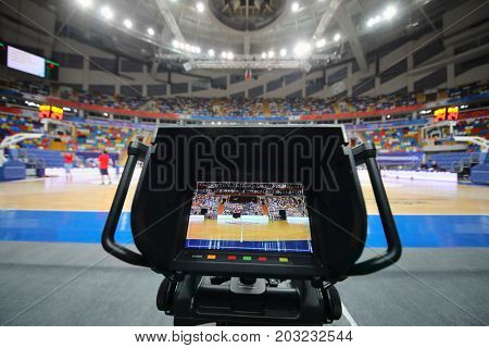 MOSCOW - JAN 27, 2017: Camera display at basketball game CSKA (Moscow) - Anadolu Efes (Istanbul) in Megasport stadium