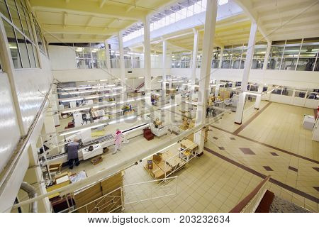 MOSCOW - SEP 15, 2016: People in workshop of cosmetics factory Freedom was created on basis of first in Russia perfume factory Rally and Co, which was founded in 1843