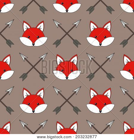 Cute cartoon foxes, Vector seamless pattern with foxes faces and arrows