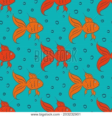 Cartoon gold fish, seamless vector illustration with hand drawn fish