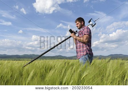 Engineer Controller Wheat Field Geodesy Agriculture Work
