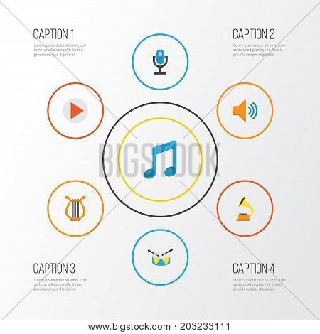 Multimedia Flat Icons Set. Collection Of Button, Tone, Sonata And Other Elements