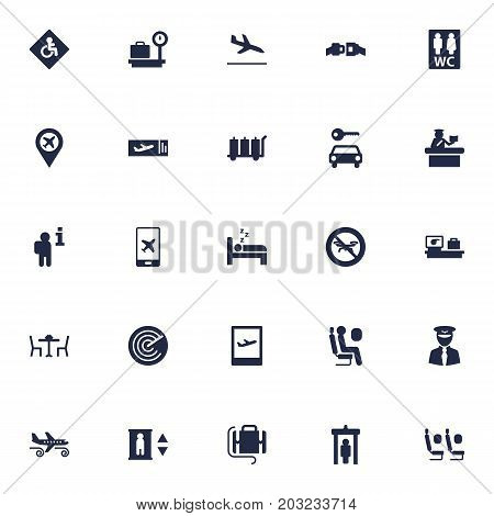 Collection Of Toilet, Tourism, Luggage Check And Other Elements.  Set Of 25 Plane Icons Set.