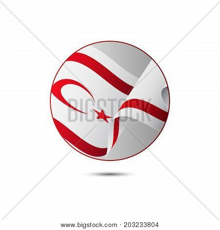 Northern Cyprus flag button with shadow on a white background. Vector illustration.