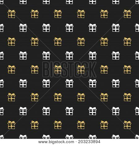 Christmas New Year seamless pattern with gift present. Holiday black background. Gold white gift. Xmas winter doodle decoration. Golden texture. Hand drawn vector illustration. Wrapping gift paper