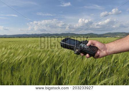 Wheat Field Hand Keyboard Geodesy Survey Industry