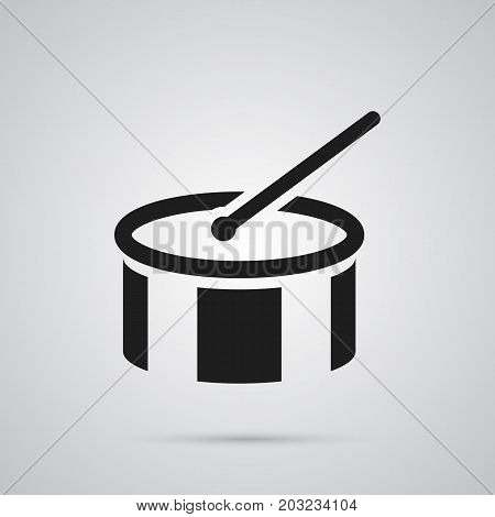 Vector Tambourine Element In Trendy Style.  Isolated Drum Icon Symbol On Clean Background.