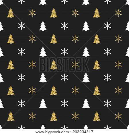 Christmas New Year seamless pattern with snowflakes christmas tree. Holiday background. Xmas winter decoration. Golden texture. Hand drawn vector illustration. Snow pattern. Wrapping gift paper