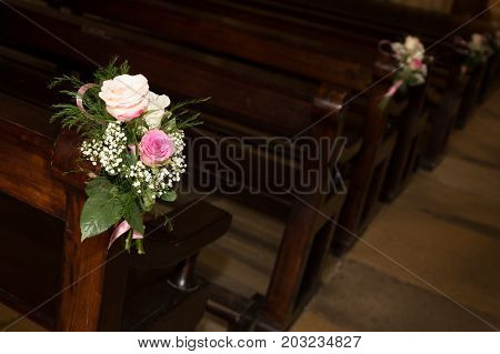 a Christian wedding flower and decoration church