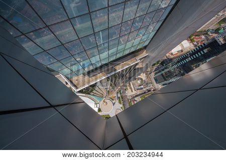 SHANGHAI, CHINA - AUG 18, 2015: (top view) High modern building Plaza 66, Height with antenna spire - 288.2 m