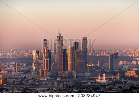 MOSCOW, RUSSIA - AUG 18, 2015: Modern skyscrapers of Moscow City business complex at morning. Moscow International Business Center Moscow City includes 20 futuristic buildings