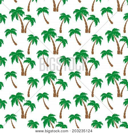 Palm trees. Seamless pattern. Vector illustration on a white background. Swatch inside. Flat design style.