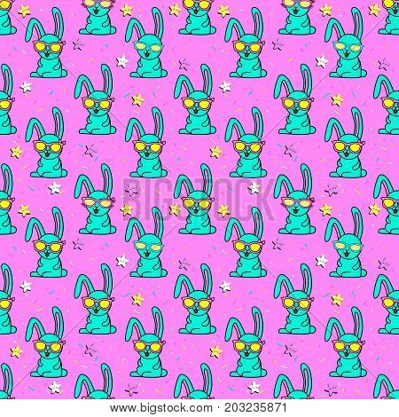 Cute kids pattern for girls and boys. Colorful rabbit, stars on the abstract bright background create a fun cartoon drawing.The background is made in colors.Urban backdrop for textile and fabric. Pink pattern. Stars pattern.Rabbit pattern. Neon pattern fo