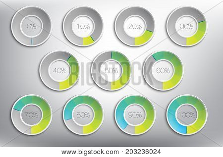 Progress indicator percentage set of 11. Completion, charging, loading or level concepts. Colorful and isolated on the white panel. Vector illustration. Eps10.
