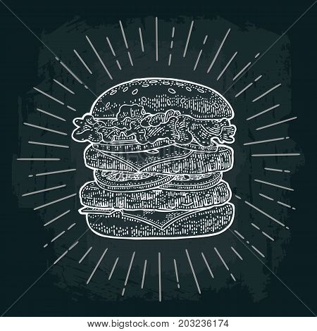 Double burger include cutlet tomato cucumber and salad with rays. Vector white vintage engraving illustration on dark chalkboard. For poster and menu.