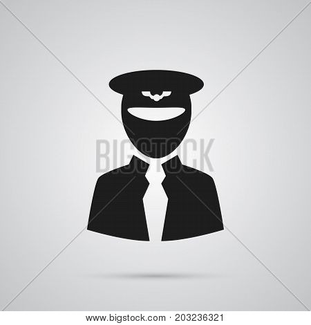 Vector Aviator Element In Trendy Style.  Isolated Pilot Icon Symbol On Clean Background.